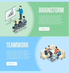 brainstorm and teamwork isometric banners vector image