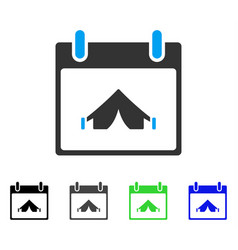 Camping calendar day flat icon vector