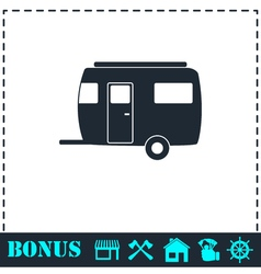 Camping trailer house icon flat vector image