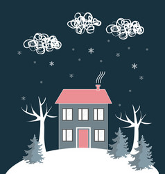 cartoon winter landscape with house and snow hill vector image