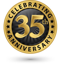 celebrating 35th anniversary gold label vector image
