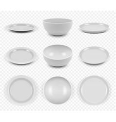 Ceramic utensils kitchen elegant empty plates vector