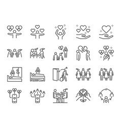 cheating and love affair line icon set vector image