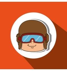 Child with pilot cap design vector