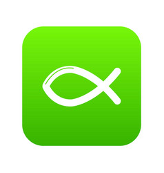 christian fish symbol icon green vector image