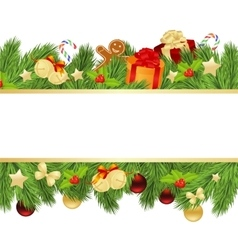 christmas template with fir vector image