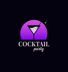 cocktail party logo martini glass on black vector image