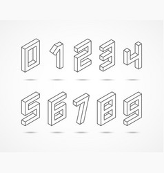 collection isometric numbers 3d vector image