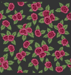 Colorful seamless pattern hand drawn red roses on vector