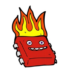 comic cartoon red hot computer chip vector image