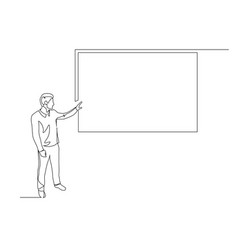 Continuous one line man points to screen vector