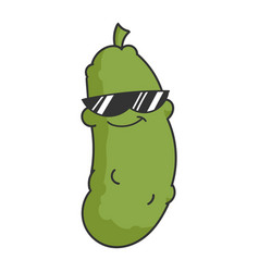 cool sunglasses dill pickle cartoon vector image