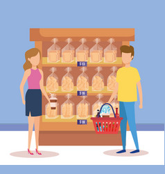 Couple in supermarket shelving with bread bags vector