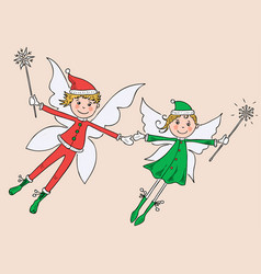 couple of the joy winter elves vector image