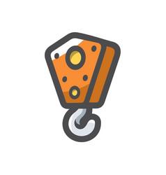 crane hook lifting mechanism icon cartoon vector image