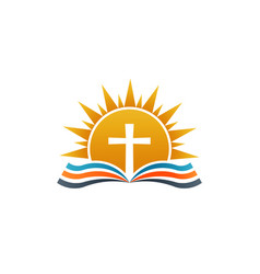 cross over bible religion logo vector image