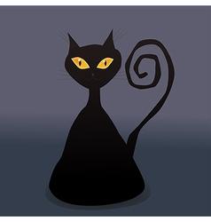 Cunning black cat vector
