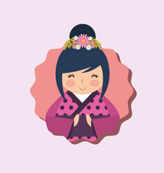 Cute traditional japanese kokeshi doll in kimono vector