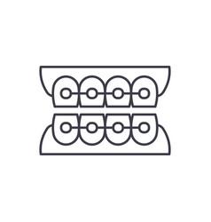 dantist braces line icon concept dantist braces vector image