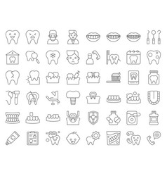 Dentist and dental clinic related icon thin line vector
