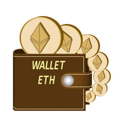 Ethereum wallet with coins on a white background vector