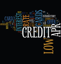 find best low apr credit card text background vector image