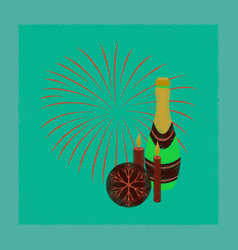 Flat shading style icon champagne candles vector