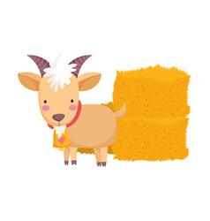 Goat and hay stack farm animal cartoon vector