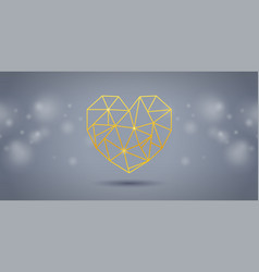 gold triangle heart on grey background vector image