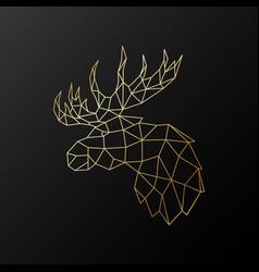 golden polygonal elk isolated vector image