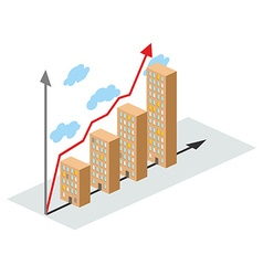 Graphics construction growth Buildings of city and vector image