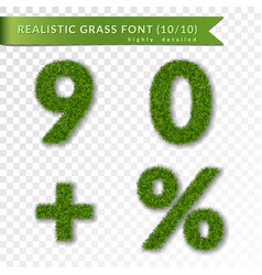 grass percent nine zero plus set green symbols vector image
