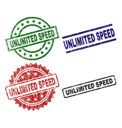 Grunge textured unlimited speed stamp seals vector