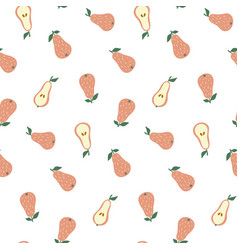 hand drawn seamless pattern with pears doodle vector image