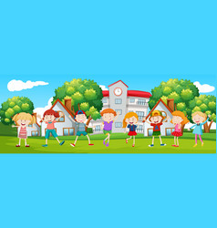 happy children at school scene vector image