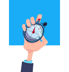 human hand hold stopwatch time manager chronometer vector image