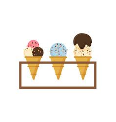 ice cream on shelf different types dessert vector image