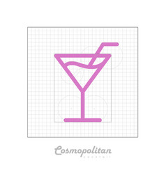 Icon of cocktail with modular grid cosmopolitan vector