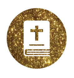 isolated glitter golden holy bible book icon vector image
