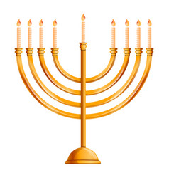 jewish menorah icon cartoon style vector image