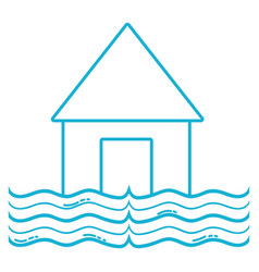 Line house flood to the water disaster weather vector