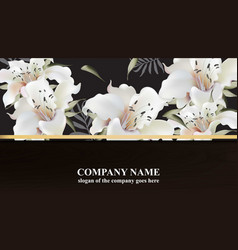 luxury card with lily flowers beautiful vector image