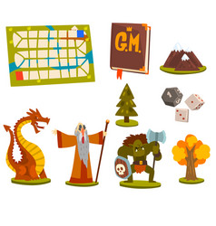 Magic board game elements set fantastic fairytale vector