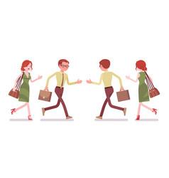 Male and female clerk running vector