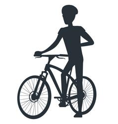 male in protective helmet standing near sport bike vector image