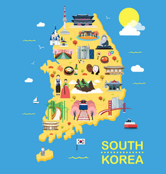 Map of korea attractions and vector