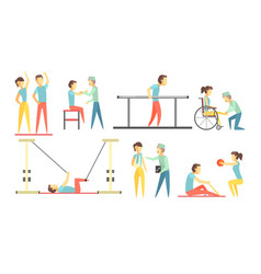 medical rehabilitation set physiotherapist doctor vector image