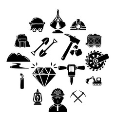 Mining minerals business icons set simple style vector
