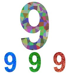 Mosaic font design set - number 9 vector