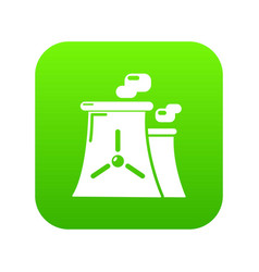 Nuclear power plant tower icon green vector